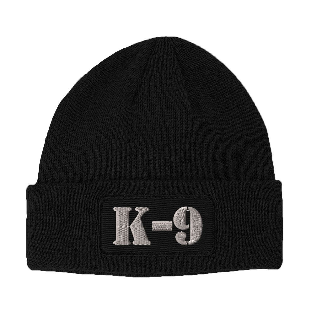 One Size K-9 Silver Logo Embroidered Unisex Adult Acrylic Patch Beanie