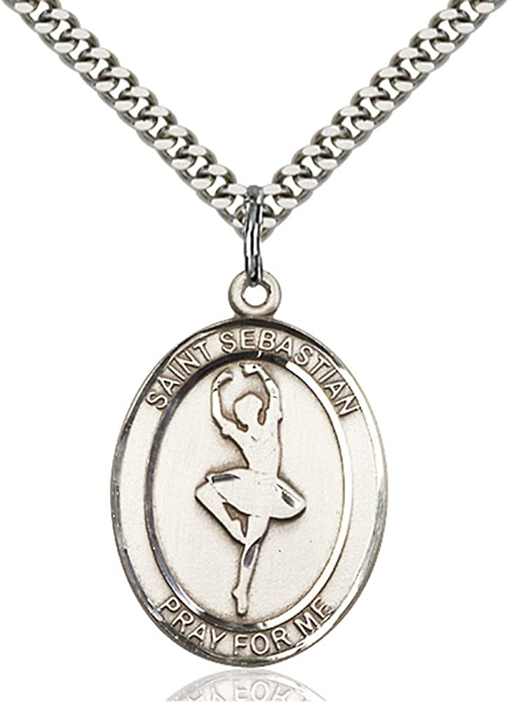 Bonyak Jewelry St Figure Skating Hand-Crafted Oval Medal Pendant in Sterling Silver Sebastian