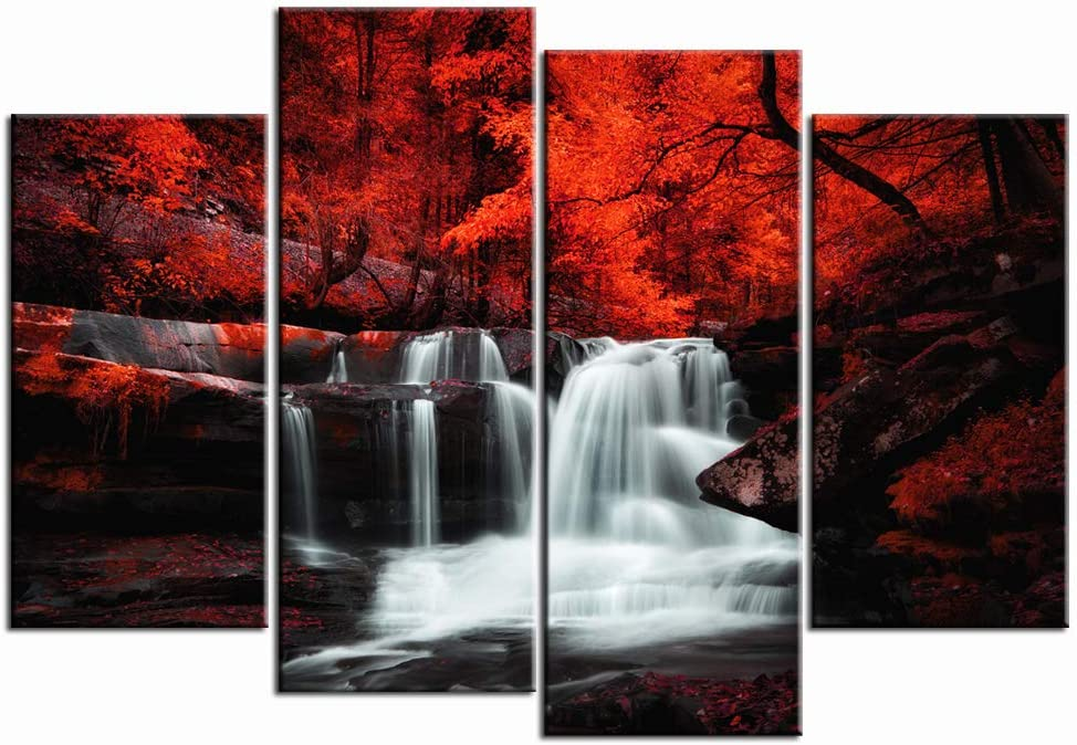 LevvArts Black White and Red Wall Art 4 Pieces Red Tree Forest Waterfall Picture Canvas Print Autumn Landscape Paintings Framed for Office Home Living Room Decor Ready to Hang
