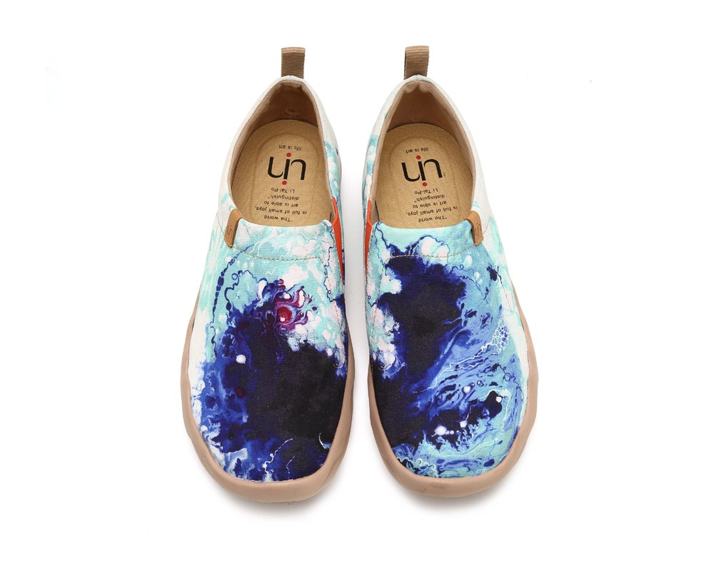 UIN Men's Mottled Dream Painted Canvas Slip-On Shoes Casual Travel Shoes Blue (10)