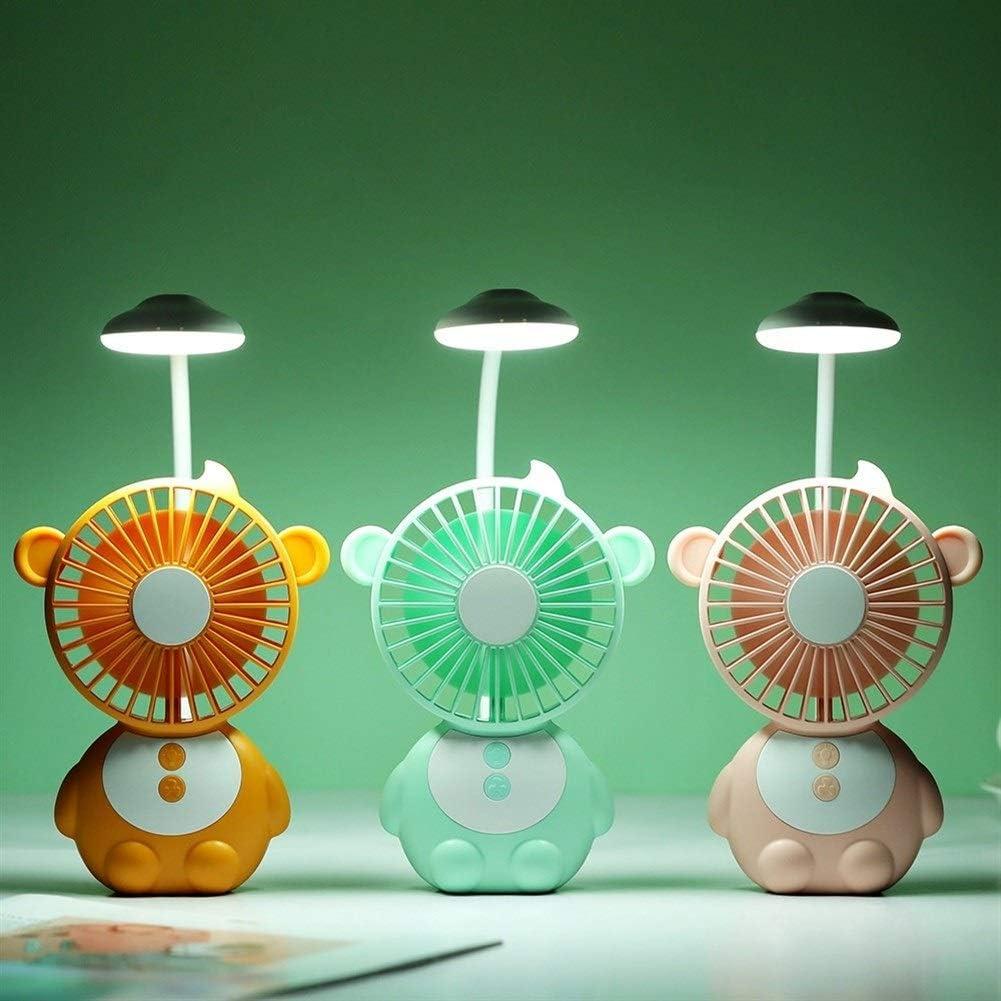 Air Cooler Table Lamp Fan 1200 MAh Summer Outdoor Handheld Fan USB Night Light Reading 3 Grade Wind Speed Fan Color : Pink