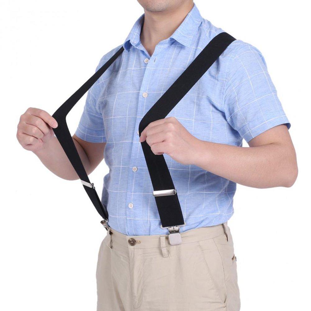 Fasker Mens Suspenders Bow Tie Set Y Shape Elastic Adjustable Braces Clip Suspender CLO-017-1
