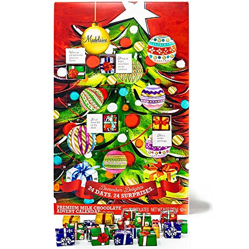 Christmas Tree Countdown Advent Calendar, Filled with (8 oz - 226 g) Solid Premium Milk Chocolate Presents (1 Pack) (Wrapped Chocolate Custom)