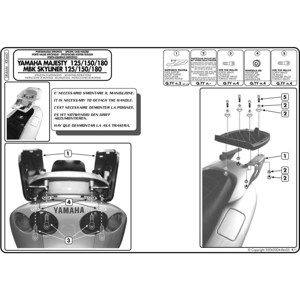 Amazon.fr   Givi Bretelles Top Case Monolock pour Yamaha Majesty, MBK  Skyliner 125 (01-10) d8d8011e59ca