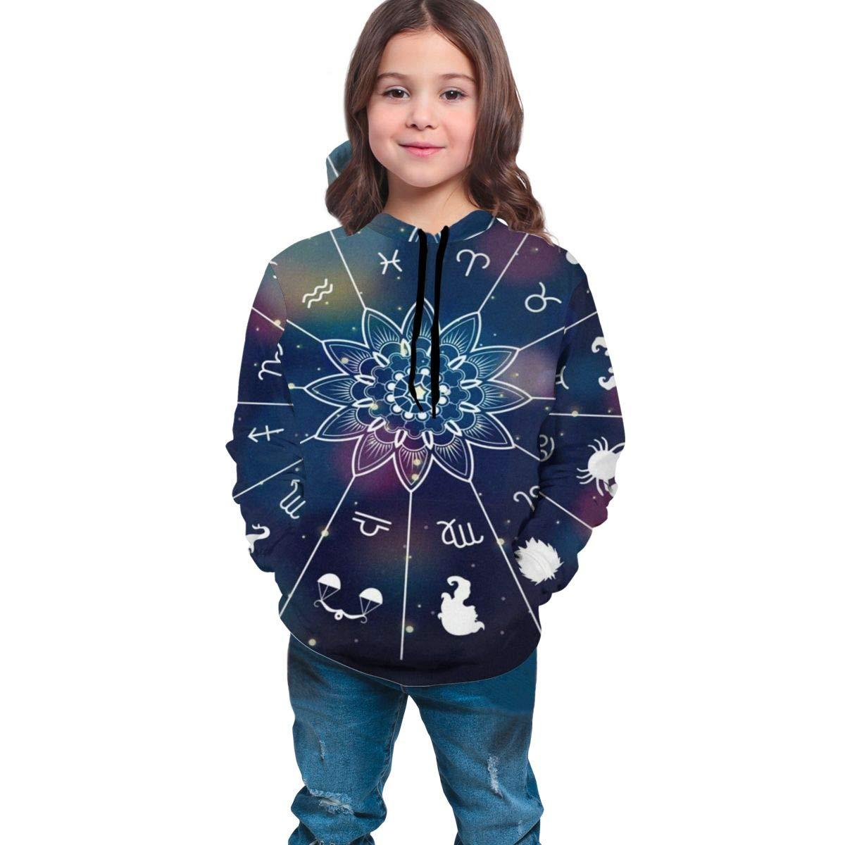 Pullover Hoodie Zodiac Polka Dot Sweatshirt Apparel Soft with Big Pockets for Boys Girls