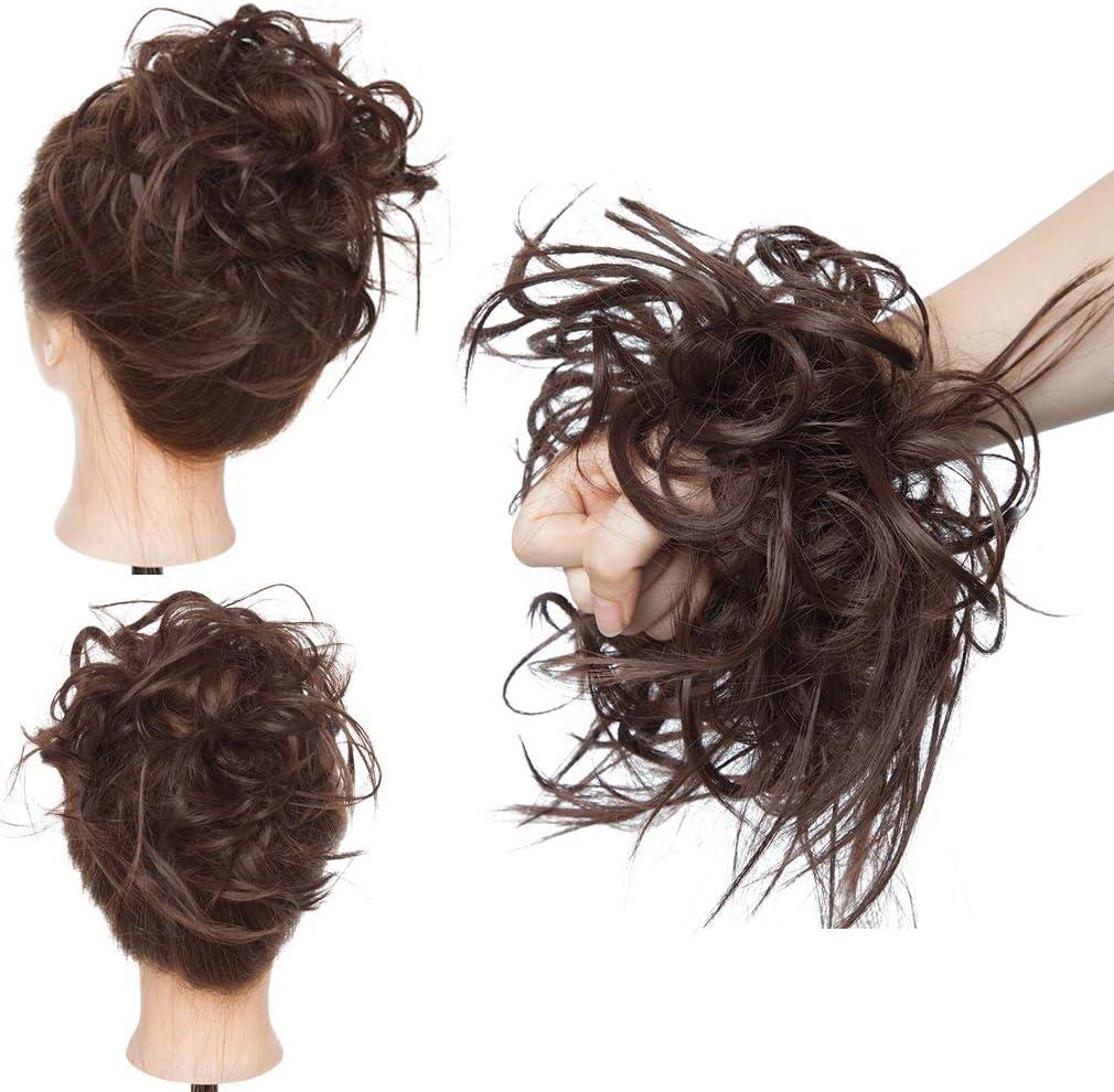 Moño Updo despeinado desordenado esponjoso Extensiones de cabello Gomas para el cabello 45g Recto Marrón Rubio Chignon Cola de caballo Peinado