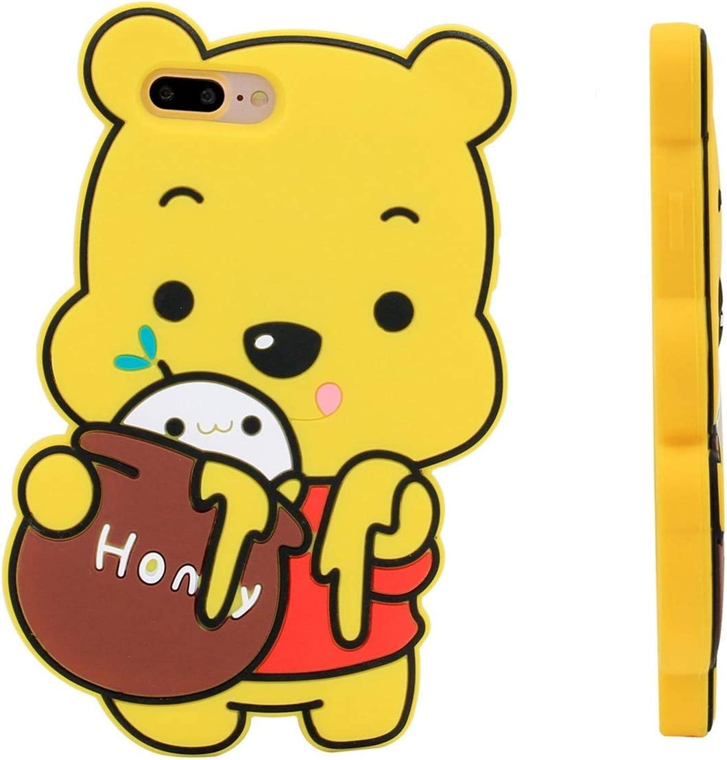 "Honey Winnie Case for iPhone 6 Plus/6S Plus 5.5"",3D Cartoon Animal Pooh Design Cute Soft Silicone Rubber Cover,Kawaii Animated Stylish Fashion Cool Skin for Kids Child Teens Girls Women (iPhone 6Plus)"
