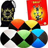 5x Pro Thud Juggling Balls - Deluxe (SUEDE) Professional Juggling Ball Set of 5 with Mister Babache Ball Juggling Book of tricks, and a Fabric Travel Bag! (Mix of colors)