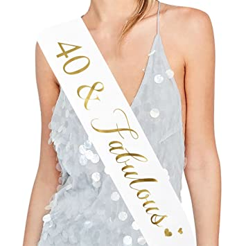 e97d20a4a90ed ADBetty 40th Birthday Sash Fabulous 40 Sash 40th Birthday Party Supplies  (White)