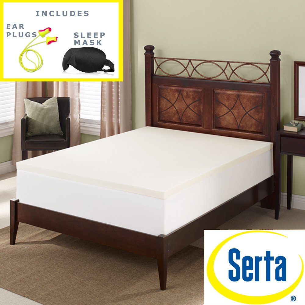 Serta 3 inch memory foam mattress topper - Amazon Com Serta Deluxe 2 Inch High Density 4 Pound Memory Foam Mattress Topper Sleep Mask Comfortable Pair Of Corded Earplugs Included Queen Kitchen