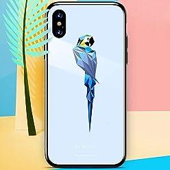 Girlscases® | iPhone XS Hülle, iPhone X / 10 Hülle Schutzhülle aus Silikon mit Papagei Aufdruck | Tier/Animal Aufdruck/Motiv | Farbe: Hell Blau