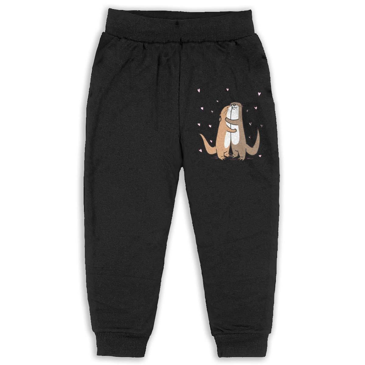 JAWANNA Love of Cartoon Otter Heart Boys Cotton Sweatpants Black Age 2T-6T 2-6 Years