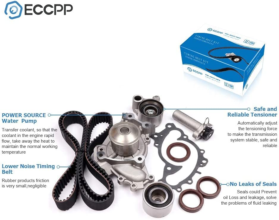 Qiilu Timing Belt Water Pump Kit for Lexus 1994-2003 Toyota 1994-2004 OE Number TCKWP257 Timing Belt Valve Cover Gasket for ES300 RX300 Avalon Camry Sienna Solara