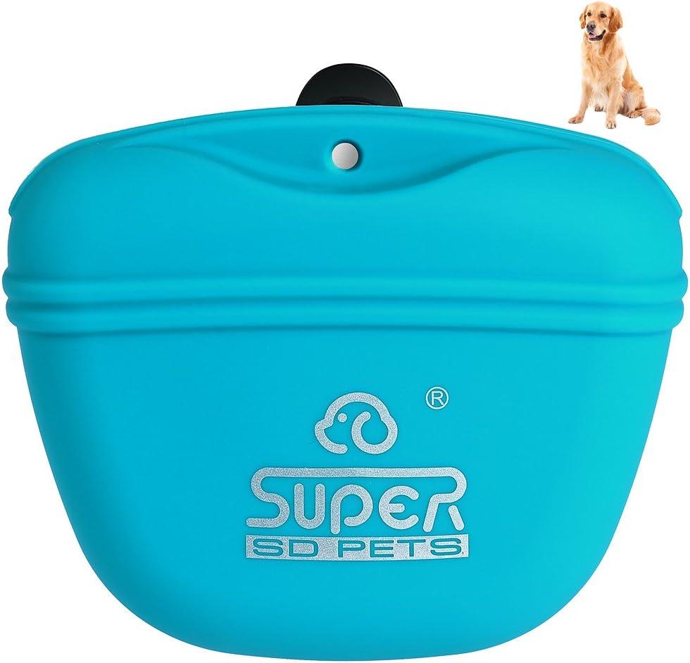 Petacc Bolsa de Entrenamiento para Mascotas de Silicona Bolsa de Entrenamiento para Perro Impermeable Bolsa Portátil con Clip y Cierre Magnético