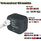 Cube Plug,New Universal Travel Adapter Electric Plugs Sockets Converter Uk/EU/US/AU with Dual USB Charging 2.4A LED Power Indicator Electric Plugs UK EU US AU International Travel Plug Adaptor Charge (Black)