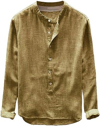 Camisa Hombre Verano Algodón y Lino Manga Larga Color sólido ...
