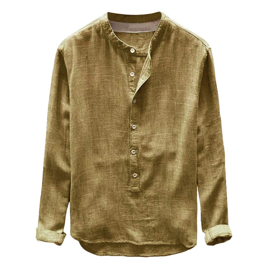 NUWFOR Fashion Mens Autumn Winter Button Casual Linen and Cotton Long Sleeve Top Blouse(Yellow,L US/L AS Bust:41.3''