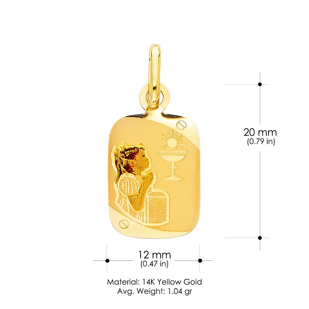 14K Yellow Gold Communion Enamel Picture Girl Charm Pendant with 2mm Figaro 3+1 Chain Necklace