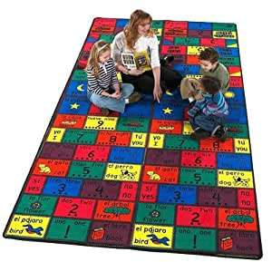 Flagship Carpets Educational amigos niños alfombra alfombra tamaño: 6'x 12'