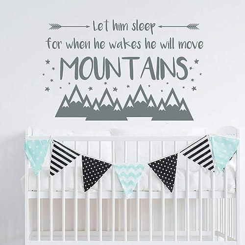 Nursery Decor Let Him Sleep For When He Wakes He Will Move Mountains Wall Decal Nursery Decor Vinyl Wall Quote Boys Room Decor