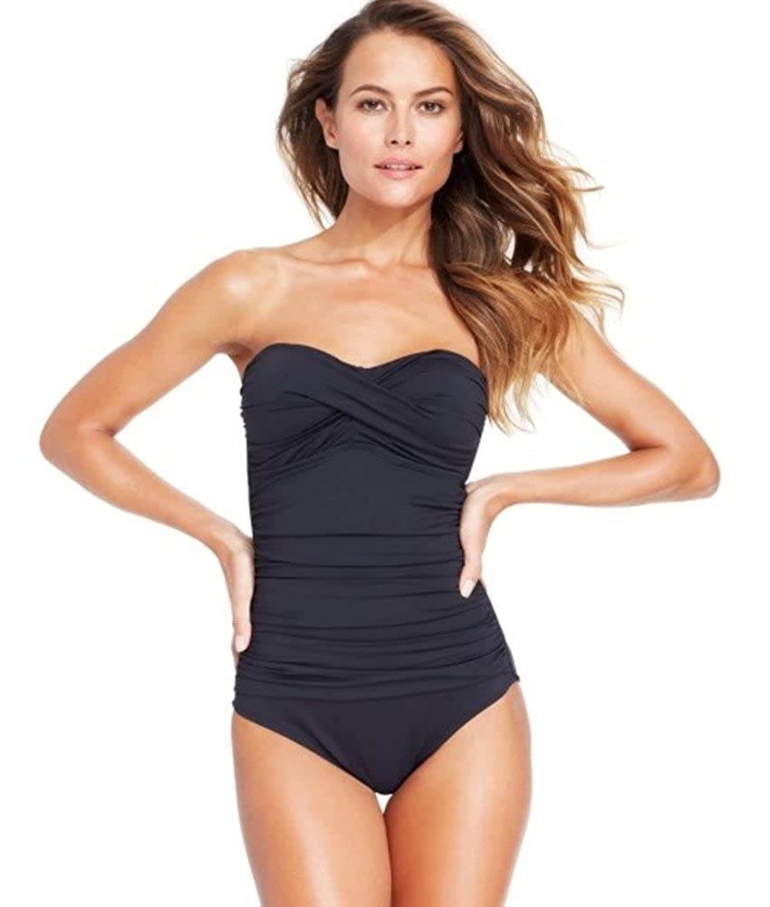 bf7bd832f0e21 Amazon.com: Anne Cole Twisted-Front Bandeau One-Piece Swimsuit Black (8):  Clothing