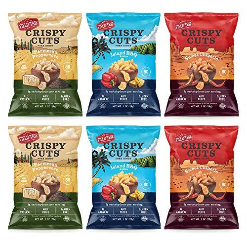 Field Trip, Crispy Cuts Sampler, Pork Rinds, Paleo, Keto Snacks, Low Carb, High Protein, 6 Pack Assortment Bundle For Sale