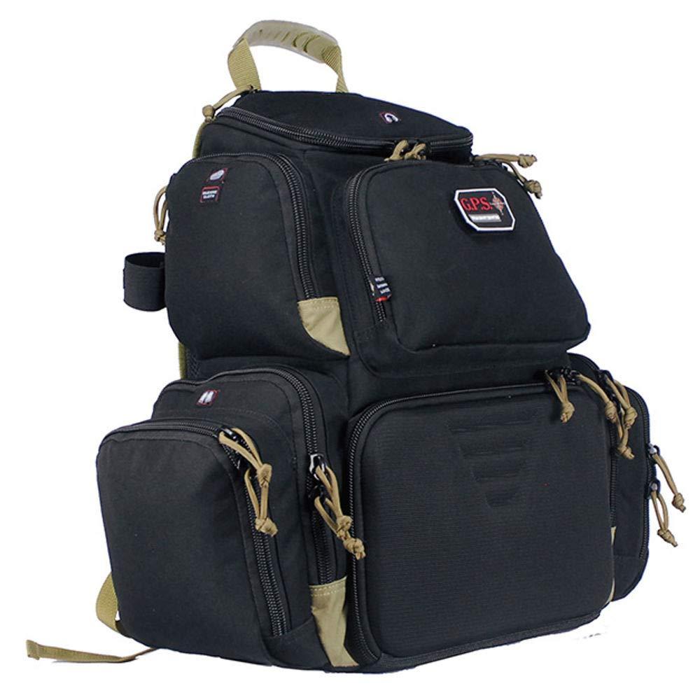 G.P.S Handgunner Backpack Range Bag, Black/Tan by G.P.S