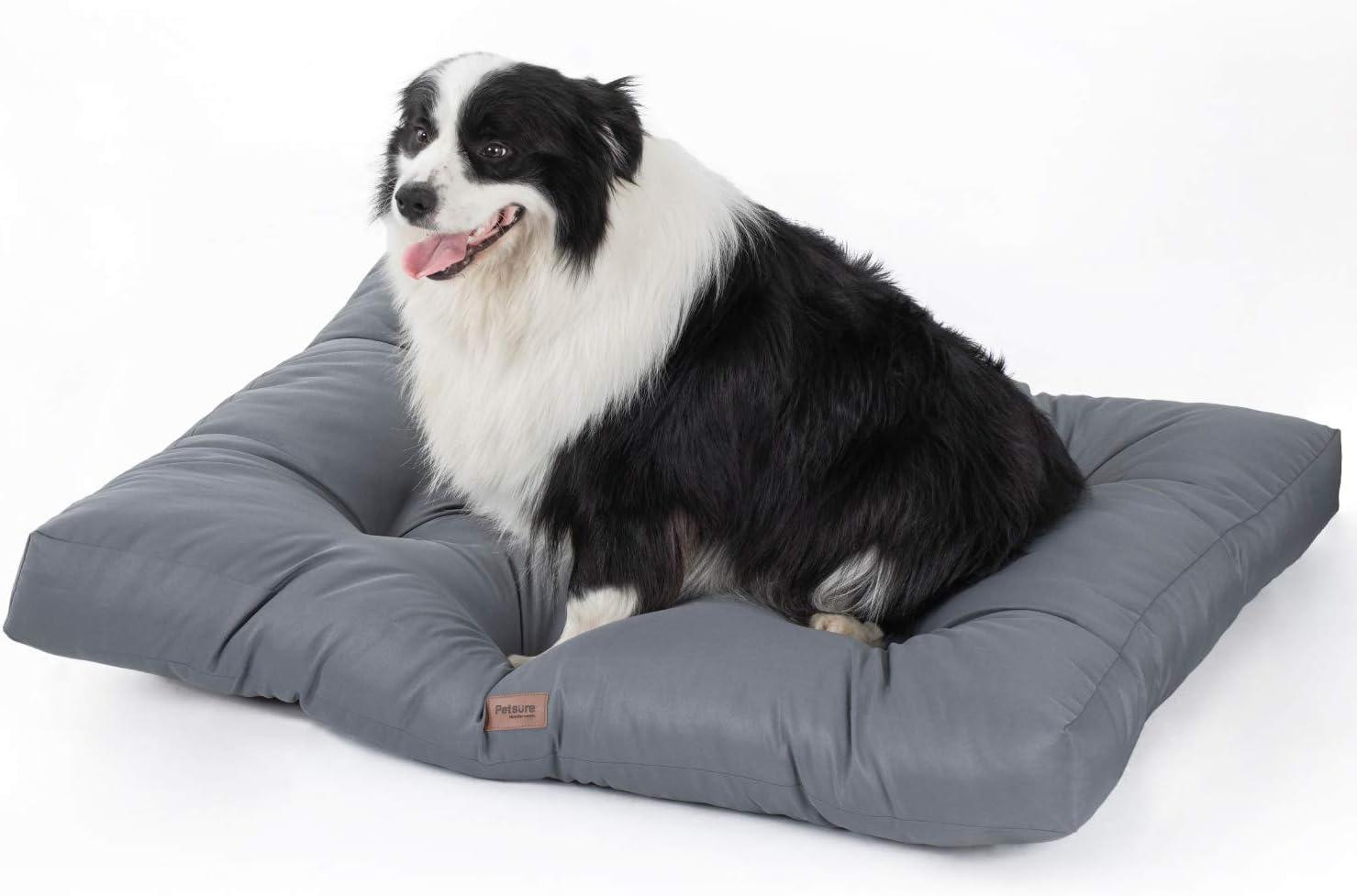 Bedsure Cama para Perro Grande Impermeable L - Colchón Perro Lavable Suave - 91x68x10 cm,Gris,L