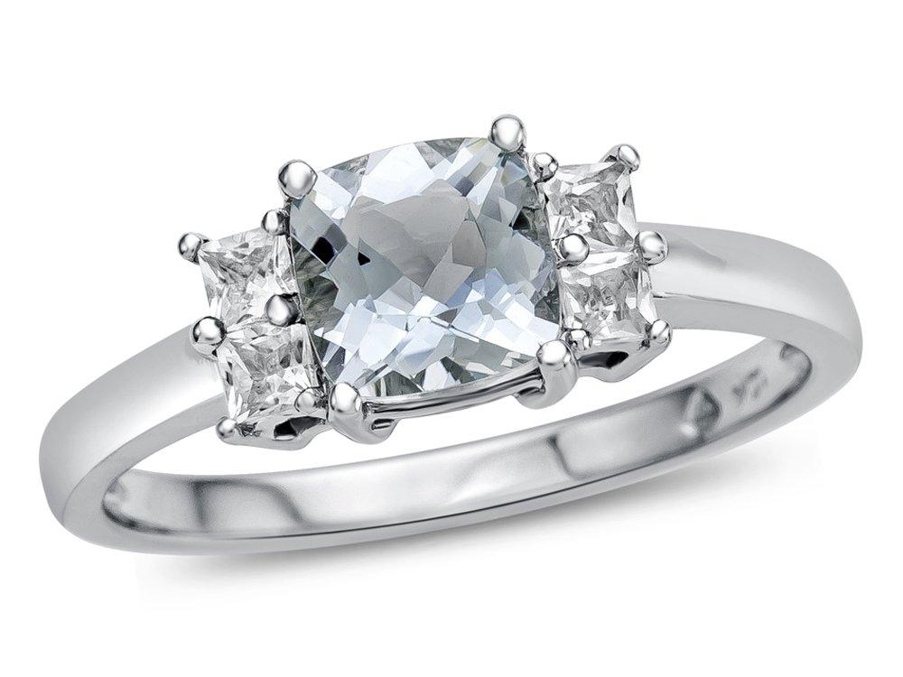 Finejewelers 6x6mm Cushion Aquamarine and White Topaz Ring 10 kt White Gold Size 6