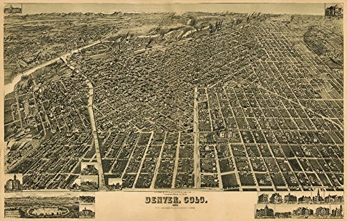 Denver  Co Panoramic Map   1889  36X54 Giclee Gallery Print  Wall Decor Travel Poster