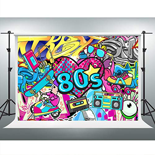 80s 90s Backdrop 10x7ft Hip Hop Party Background for Photography Graffiti Wall Photoshoot Props Theme Birthday Banner LSVV481 -