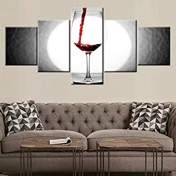Awe Inspiring Black And White Paintings Red Wine Cup Pictures 5 Piece Prints On Canvas Modern Wall Art Giclee Living Room Home Decor Contemporary Abstract Artwork Inzonedesignstudio Interior Chair Design Inzonedesignstudiocom
