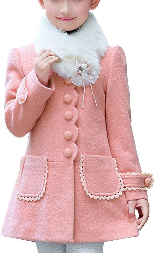 LSERVER-Lserver cappotto Ragazza di inverno giacca a vento di lana del cappotto di trincea del rivestimento di spessore caldo