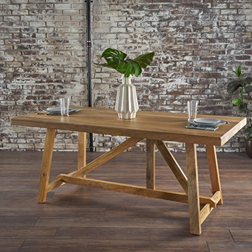 Great Deal Furniture 301515 Nathan Dining Table | Solid Mango Wood | Modern Farmhouse | Natural Finished,