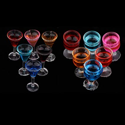 Bunt SM SunniMix 12 pcs 1:12 Puppenhaus Zubeh/ör Mini Cocktailgl/äser aus Kunststoff