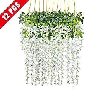 Healon 3.6FT Artificial Fake Wisteria Vine Ratta Silk Hanging Garland Flower Party Wedding Decor 12 PCS 31