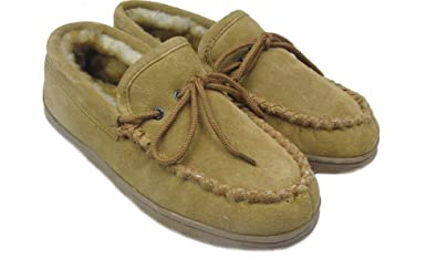 fa67ed9b2bf WoolWorks Men s Sheepskin Moccasin Slippers Size 11 Tan