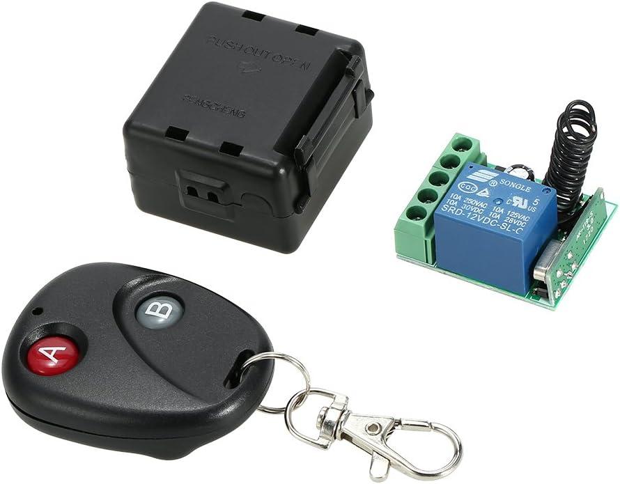 OWSOO 433MHz DC 12V T/él/écommande Commutateur sans Fil,Module R/écepteur de Relaispour Garage /émetteur,Interrupteur /à Distance /à Verrouillage Magn/étique Mod/èle