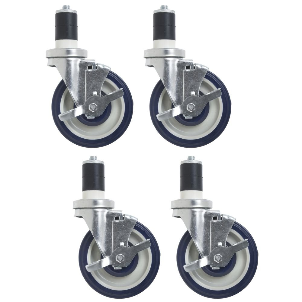 Blue Polyurethane Caster Kit with Brakes for Work Tables Pack of 4-5''Dia