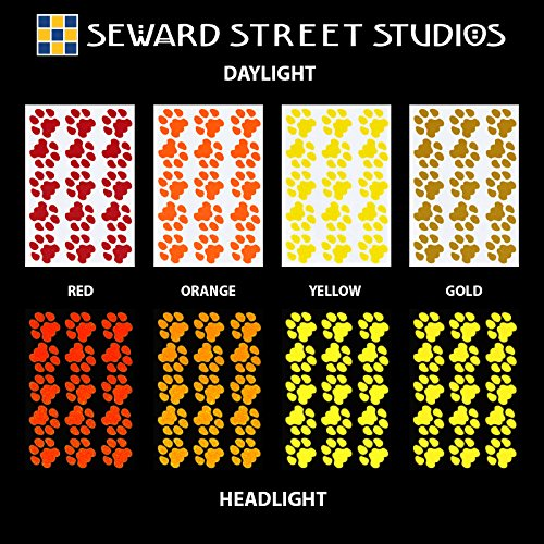 Seward Street Studios Reflective Decals Cat Print Set – Cat Tracks Safety Sticker Kit – Cat Prints Reflector Stickers (Red) by Seward Street Studios (Image #4)
