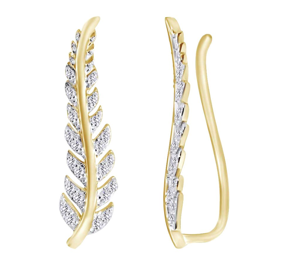 (0.33 cttw) Round Cut White Natural Diamond Feather Climber Ear Crawler In 10k Yellow Gold