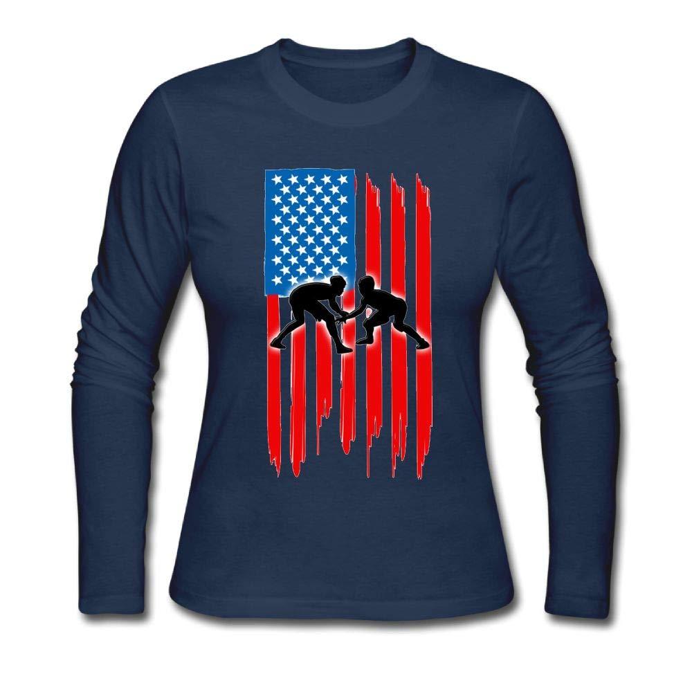 Kkajjhd American Flag Wrestling Long Sleeve Pullover Casual T-Shirt Blouse Tops