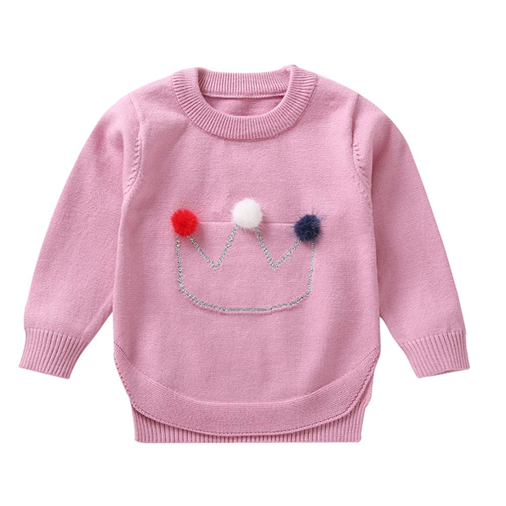 AMSKY Preemie Baby Clothes Boy,Toddler Infant Baby Girls Crown Hair Ball Long Sleeves Sweater Sweatshirt Tops,Baby Girls' Bodysuits,Pink,120