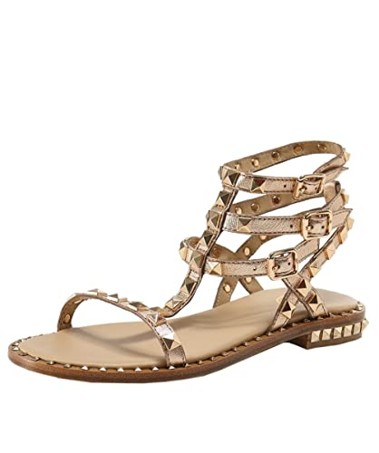 754650c9de4 Ash Women s Metallic Leather Poison Studded Sandals UK 8 Rame ...