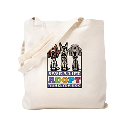 5f77921a057 CafePress - Adopt A Shelter Dog - Natural Canvas Tote Bag, Cloth Shopping  Bag