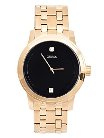 Amazon Com Guess Black And Gold Tone Diamond Dress Watch