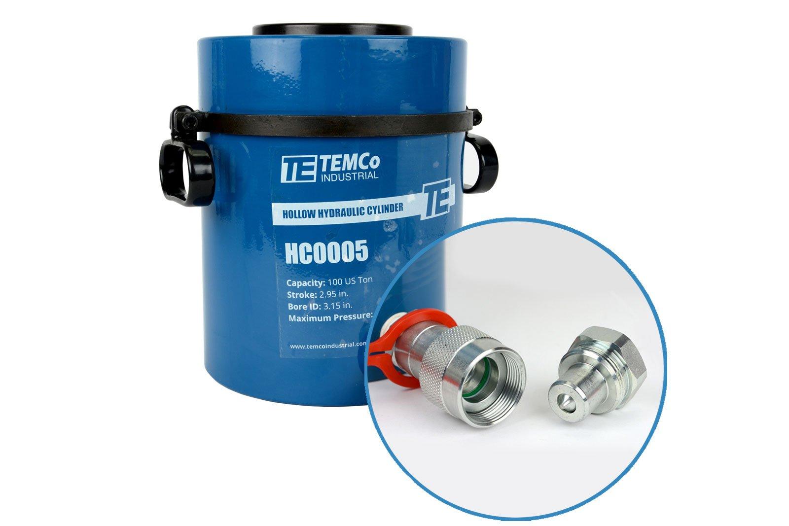 TEMCo HC0005 - Hollow Hydraulic Cylinder Ram 100 TON 3 In Stroke - 5 YEAR Warranty