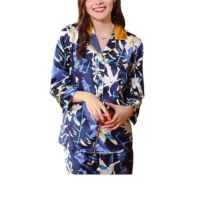 XXSZKAA Pijamas De La Caída De Las Muchachas/Seda Azul De Imitación De La Impresión