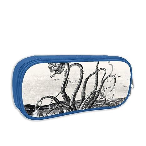 Teal Ocean Kraken Attack - Estuche para bolígrafos de tinta para estudiantes, con doble cremallera, gran capacidad, para rotuladores: Amazon.es: Oficina y papelería