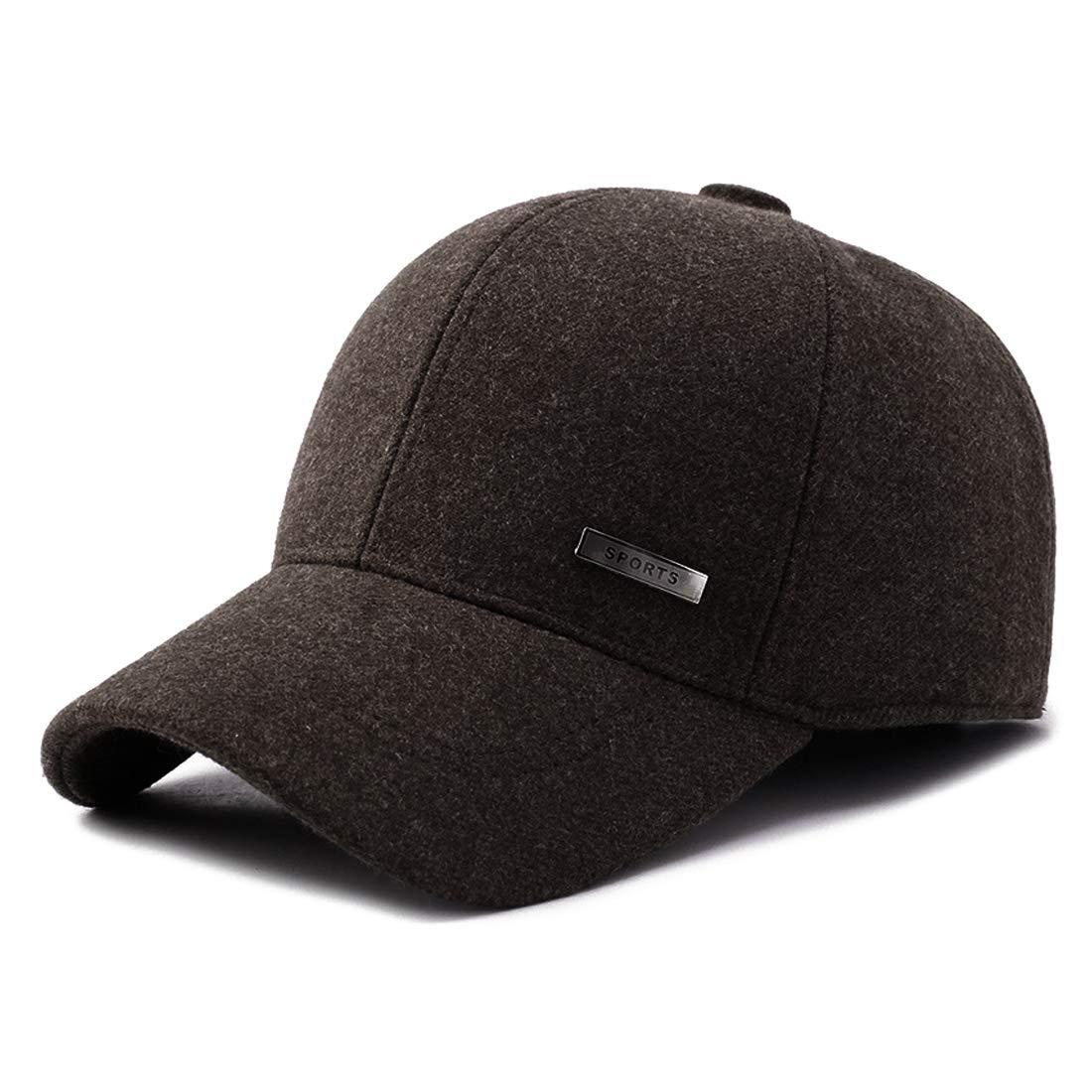 Gisdanchz 22-23 1/2 / 56-60cm Men's Winter Warm Baseball Cap with Ear Flap and Metal Buckle